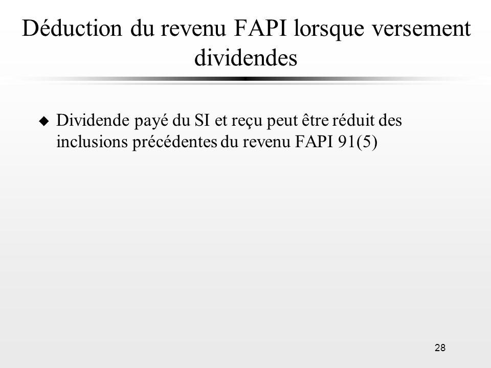 Déduction du revenu FAPI lorsque versement dividendes