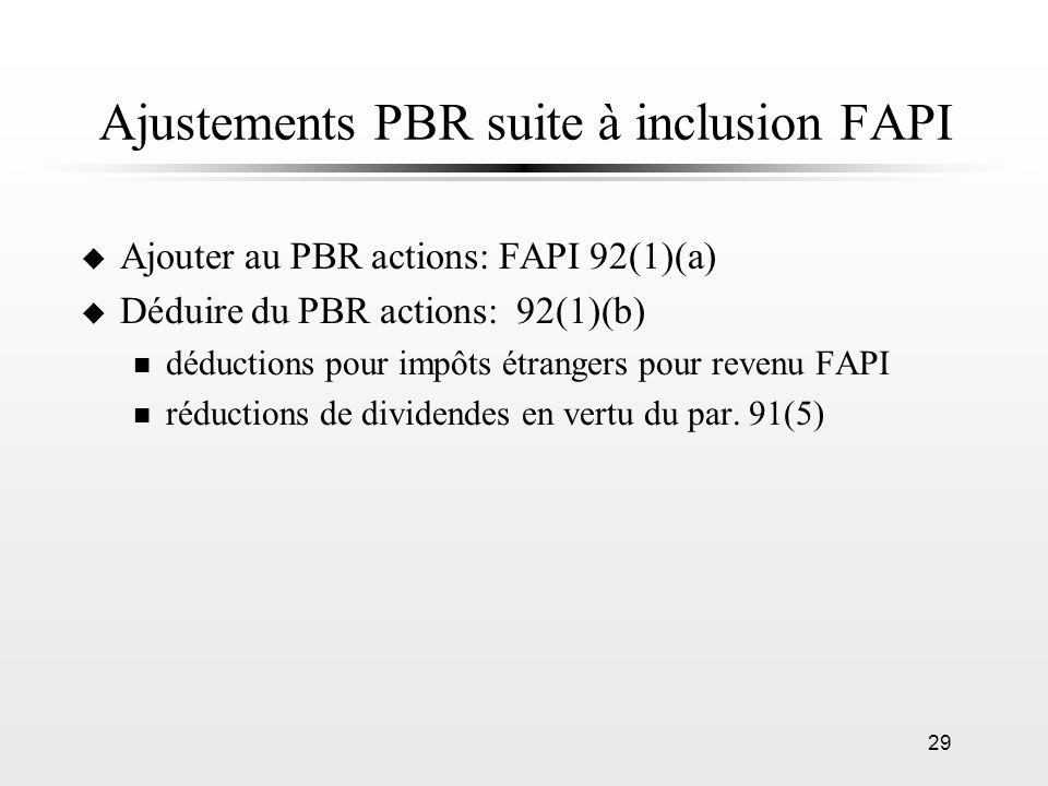 Ajustements PBR suite à inclusion FAPI