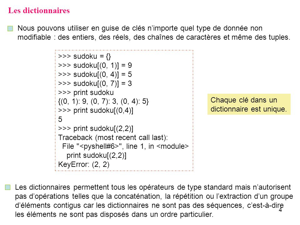Les dictionnaires Nous pouvons utiliser en guise de clés n'importe quel type de donnée non.
