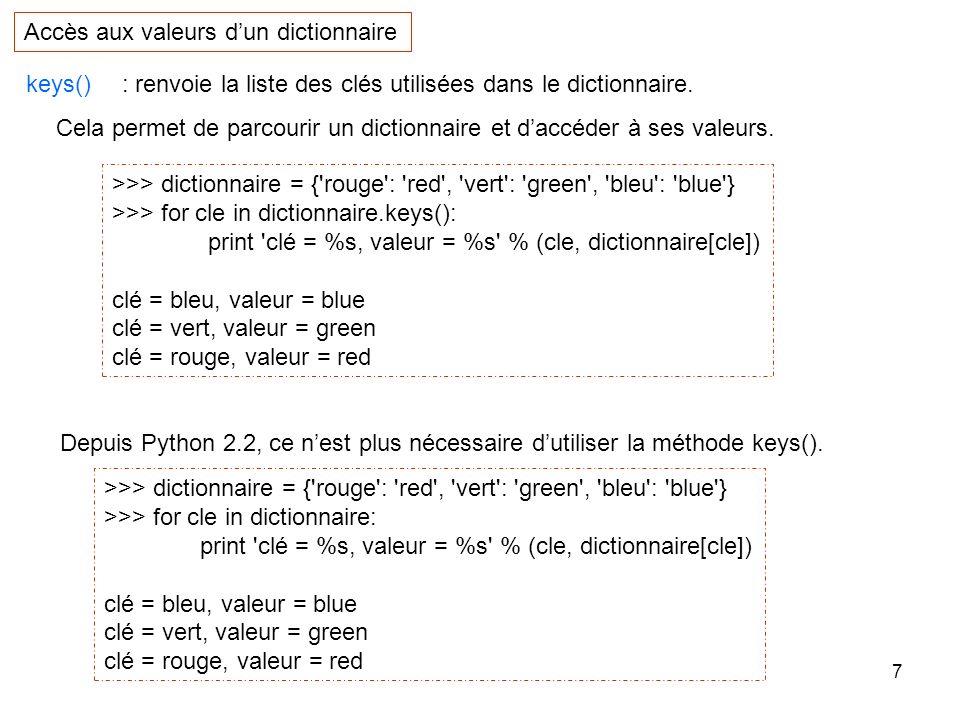 Accès aux valeurs d'un dictionnaire