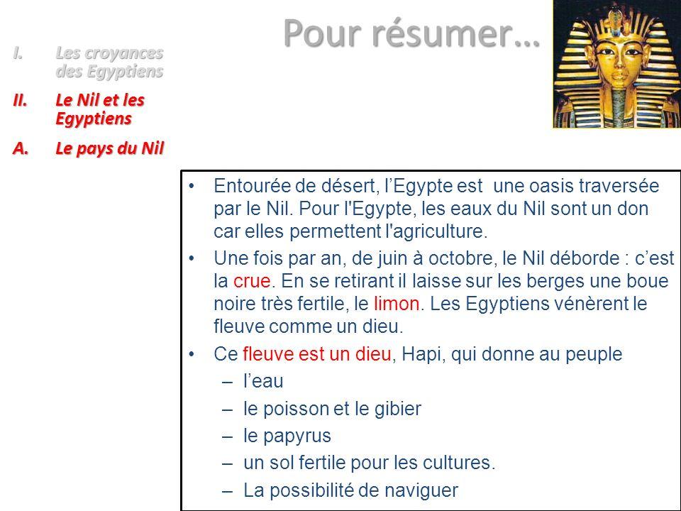 Pour résumer… Les croyances des Egyptiens Le Nil et les Egyptiens
