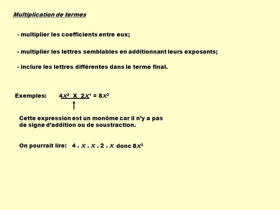 Multiplication de termes