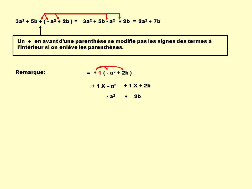 3a2 + 5b + ( - a2 + 2b ) = + ( - a2 + 2b ) 3a2 + 5b - a2 + 2b = 2a2 + 7b.