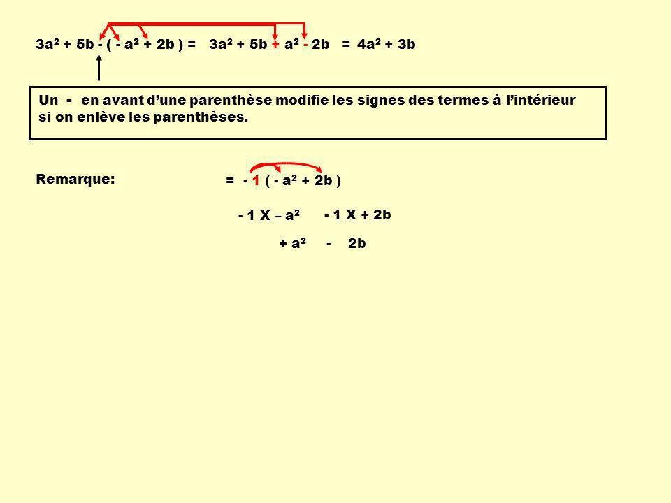 3a2 + 5b - ( - a2 + 2b ) = - ( - a2 + 2b ) 3a2 + 5b + a2 - 2b = 4a2 + 3b.