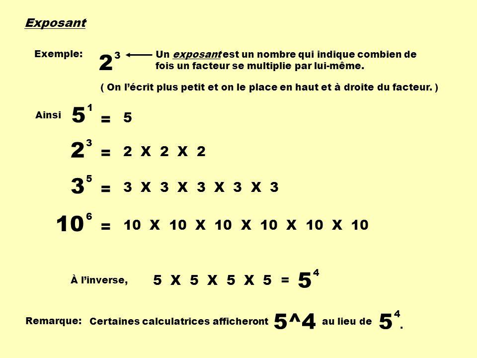 Exposant Exemple: 2. 3. Un exposant est un nombre qui indique combien de fois un facteur se multiplie par lui-même.