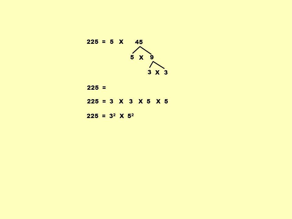225 = 5 X 45 5 X 9 3 X 3 225 = 225 = 3 X 3 X 5 X 5 225 = 32 X 52