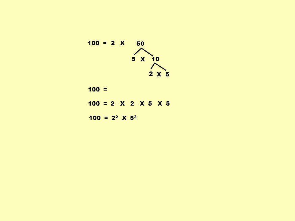 100 = 2 X 50 5 X 10 2 X 5 100 = 100 = 2 X 2 X 5 X 5 100 = 22 X 52