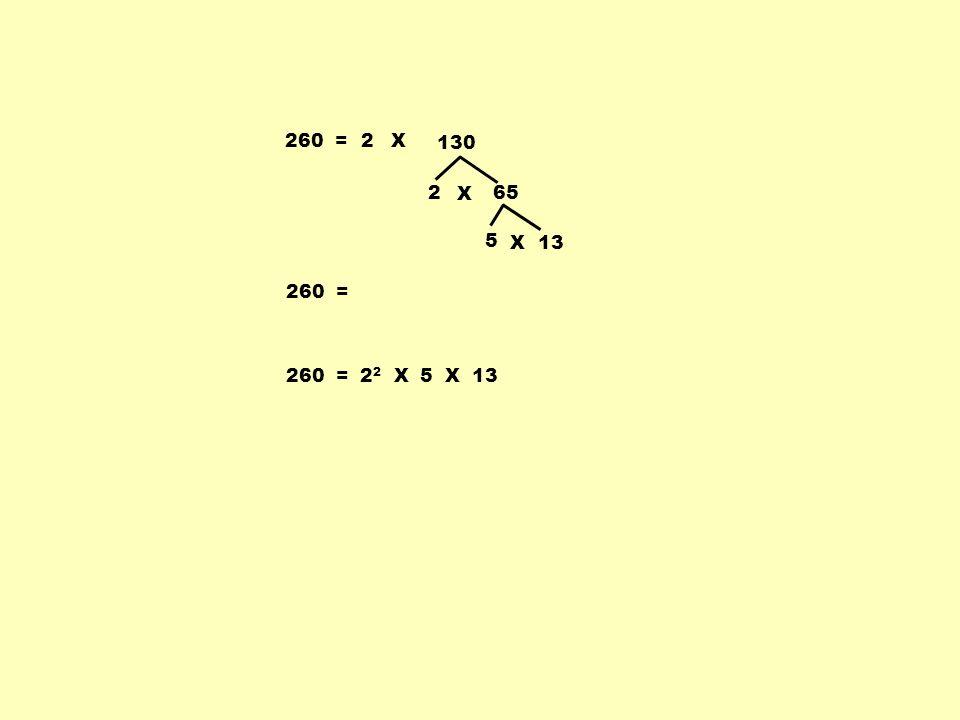 260 = 2 X 130 2 X 65 5 X 13 260 = 260 = 22 X 5 X 13