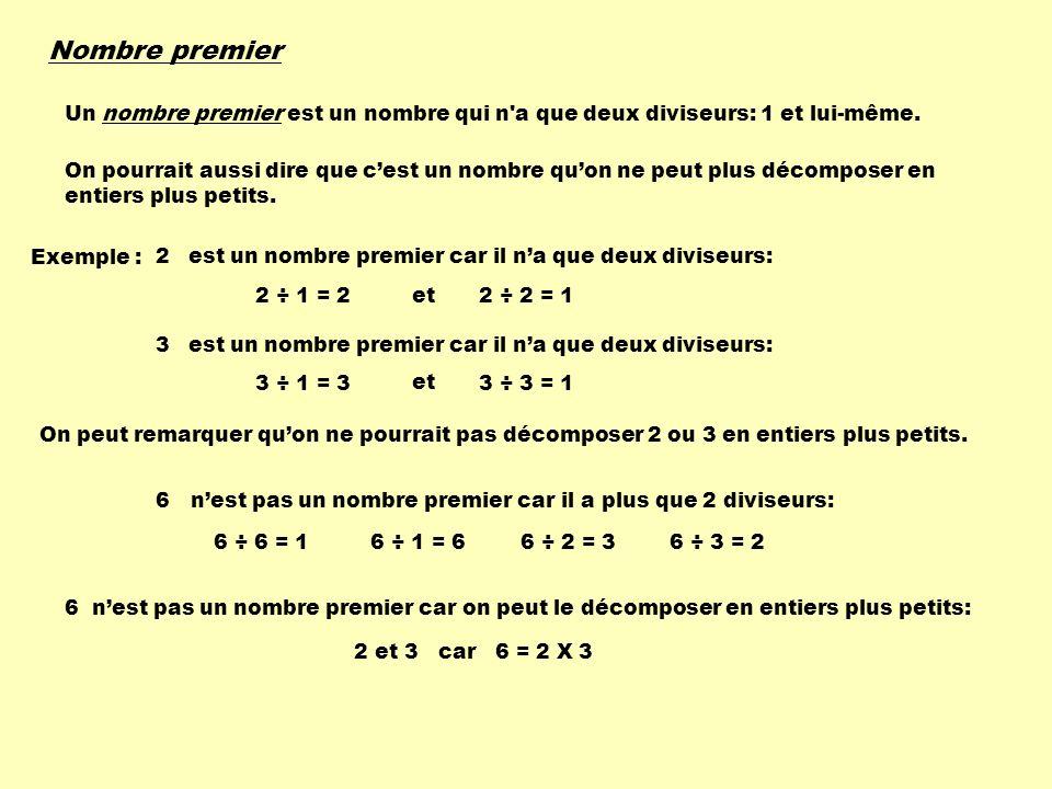 Nombre premier Un nombre premier est un nombre qui n a que deux diviseurs: 1 et lui-même.