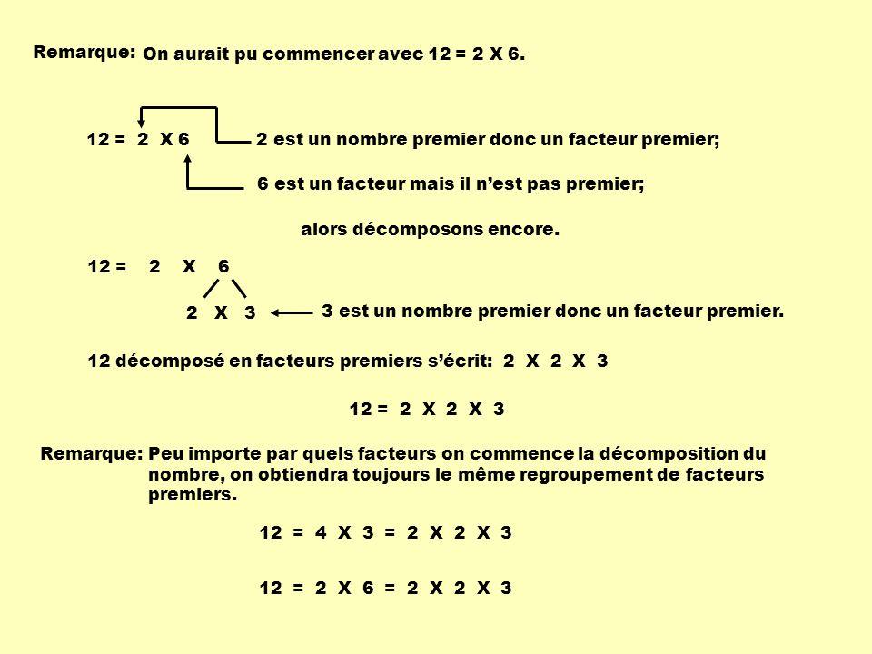 Remarque: On aurait pu commencer avec 12 = 2 X 6. 2 est un nombre premier donc un facteur premier;