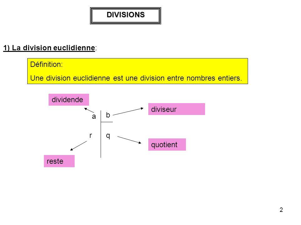 DIVISIONS 1) La division euclidienne: Définition: Une division euclidienne est une division entre nombres entiers.
