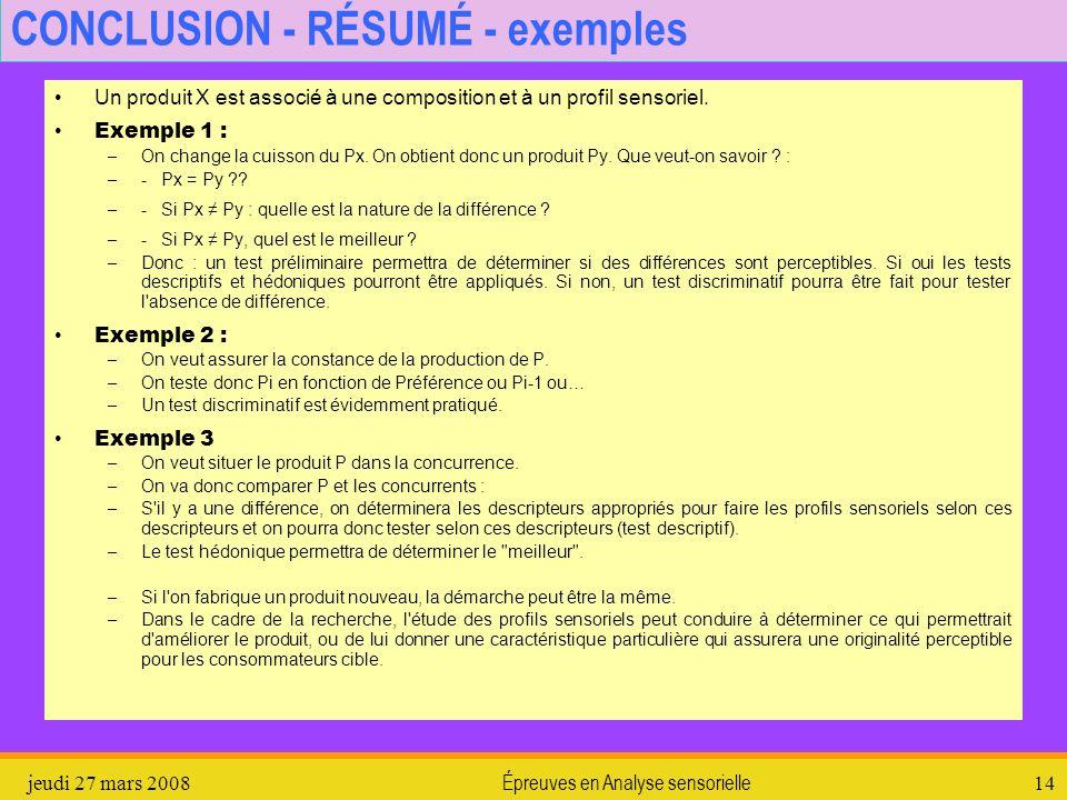 CONCLUSION - RÉSUMÉ - exemples