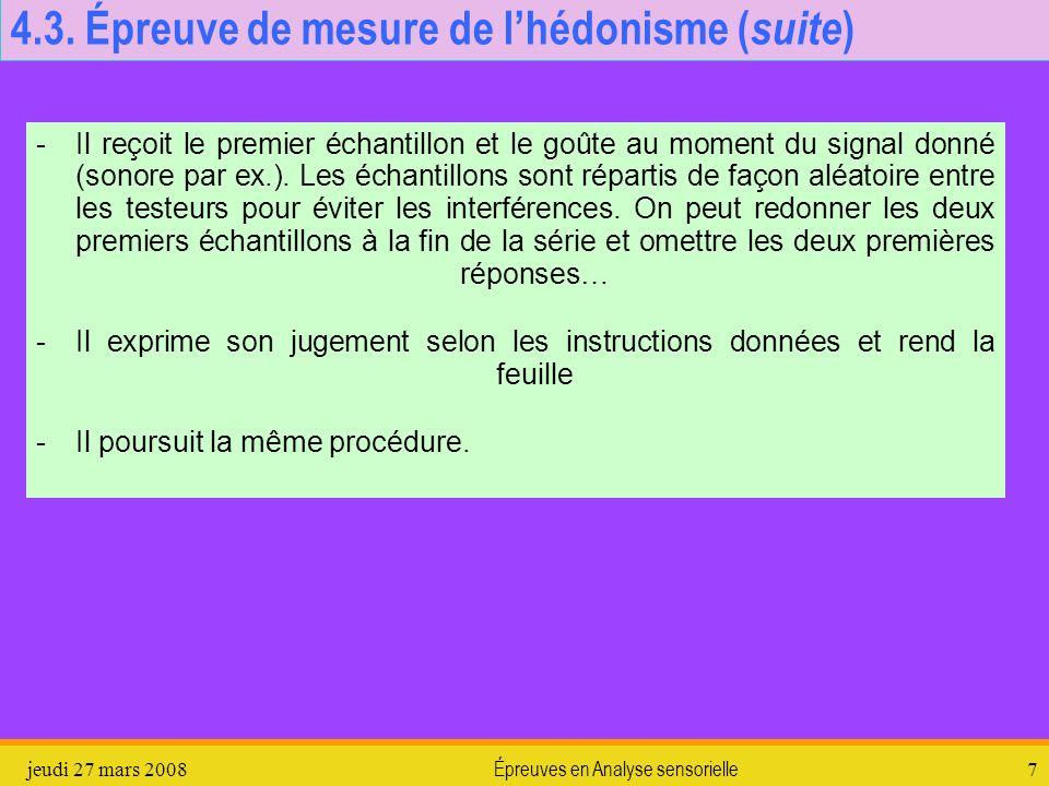4.3. Épreuve de mesure de l'hédonisme (suite)