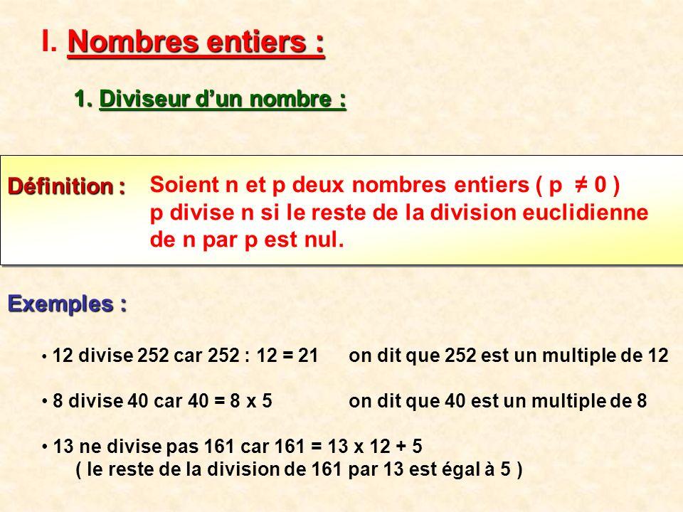 Nombres entiers : Diviseur d'un nombre : Définition :