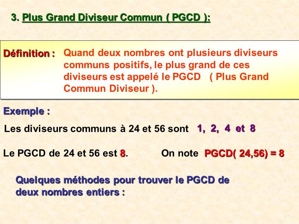 Les diviseurs communs à 24 et 56 sont