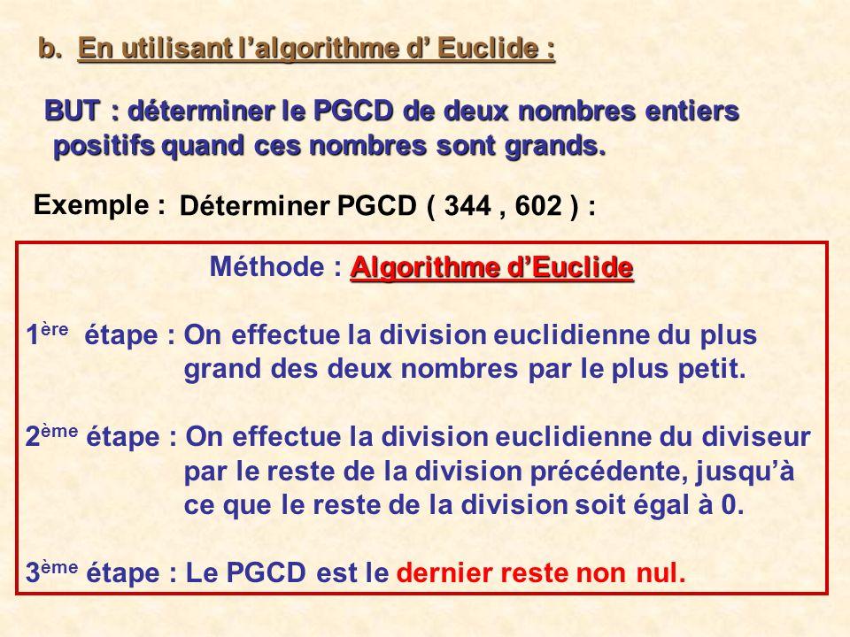 Méthode : Algorithme d'Euclide