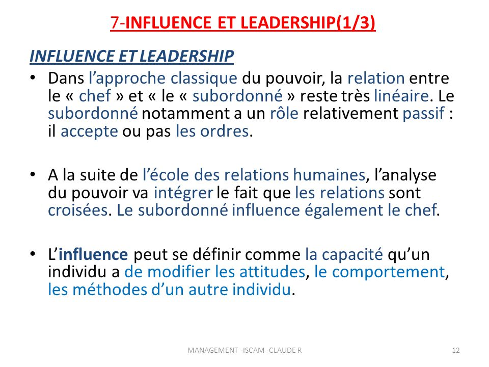 7-INFLUENCE ET LEADERSHIP(1/3)