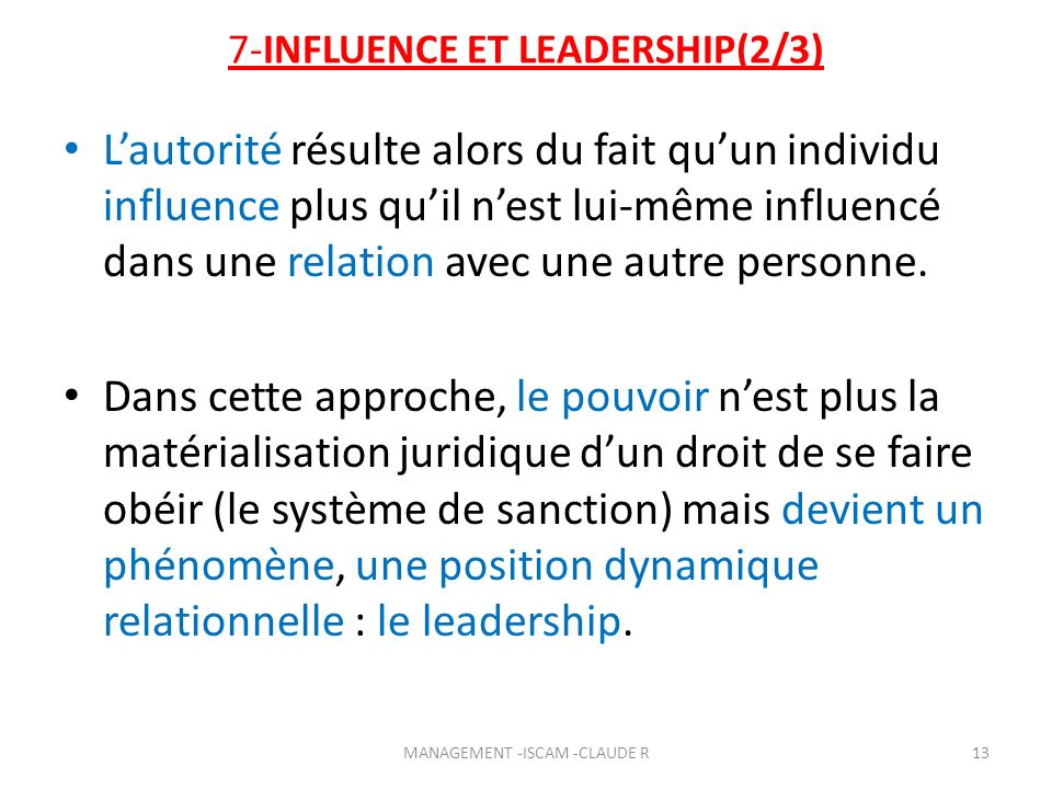 7-INFLUENCE ET LEADERSHIP(2/3)