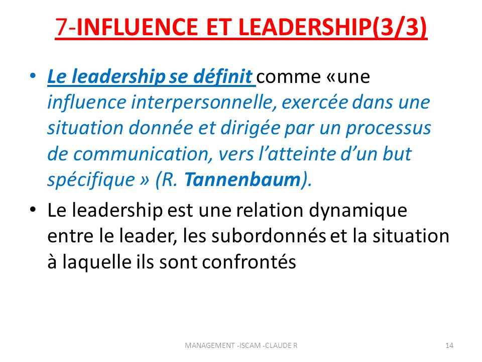 7-INFLUENCE ET LEADERSHIP(3/3)