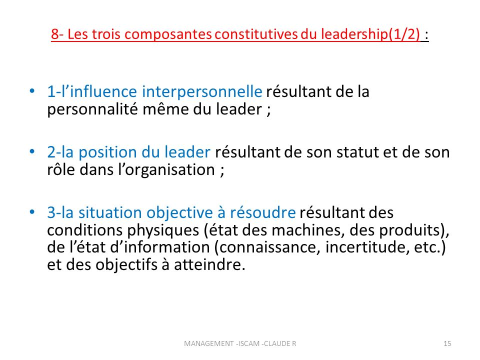 8- Les trois composantes constitutives du leadership(1/2) :
