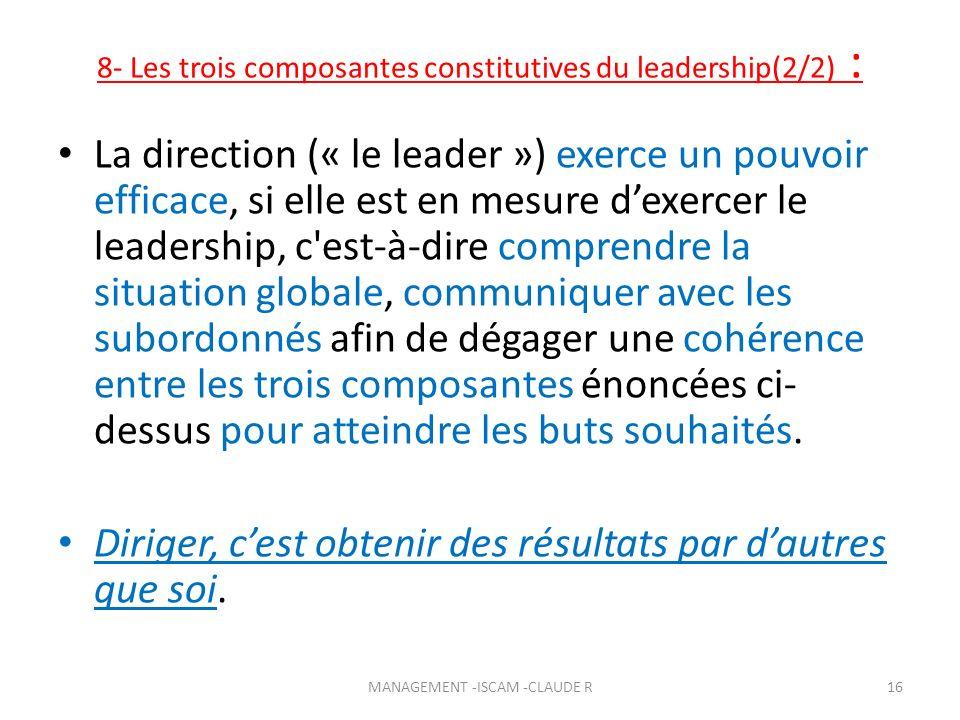 8- Les trois composantes constitutives du leadership(2/2) :