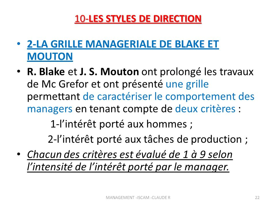 10-LES STYLES DE DIRECTION