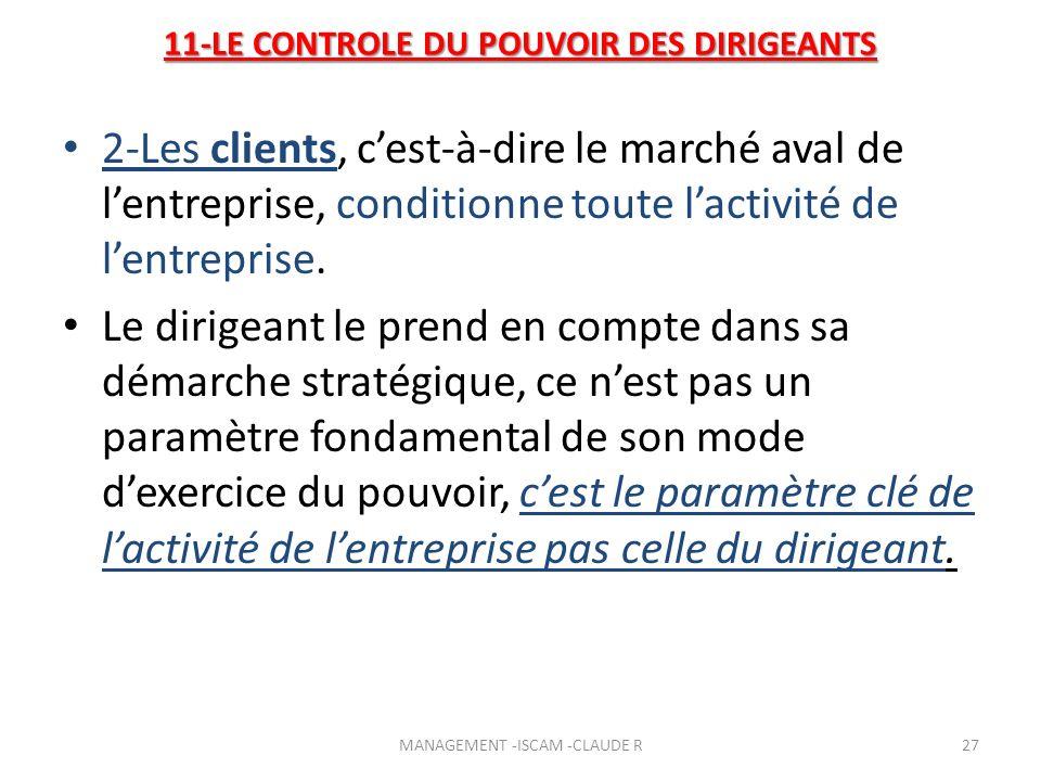 11-LE CONTROLE DU POUVOIR DES DIRIGEANTS