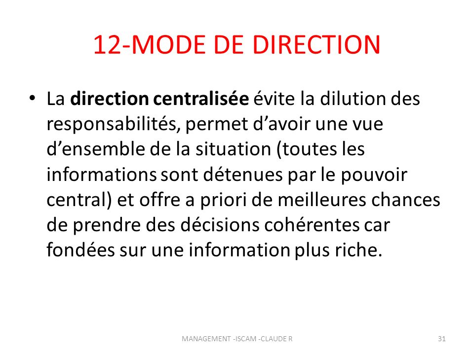 MANAGEMENT -ISCAM -CLAUDE R