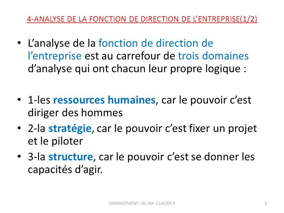 4-ANALYSE DE LA FONCTION DE DIRECTION DE L'ENTREPRISE(1/2)
