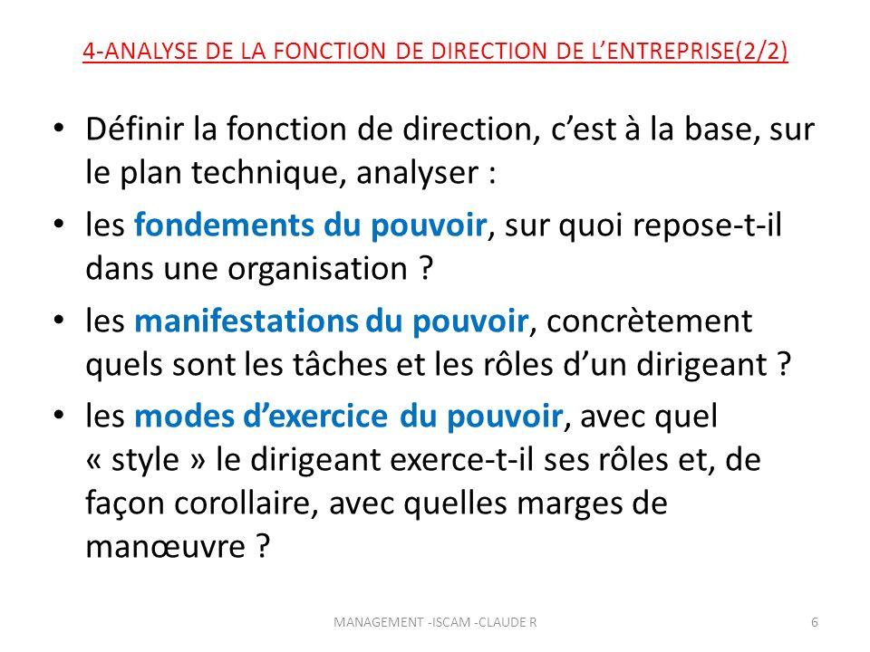 4-ANALYSE DE LA FONCTION DE DIRECTION DE L'ENTREPRISE(2/2)