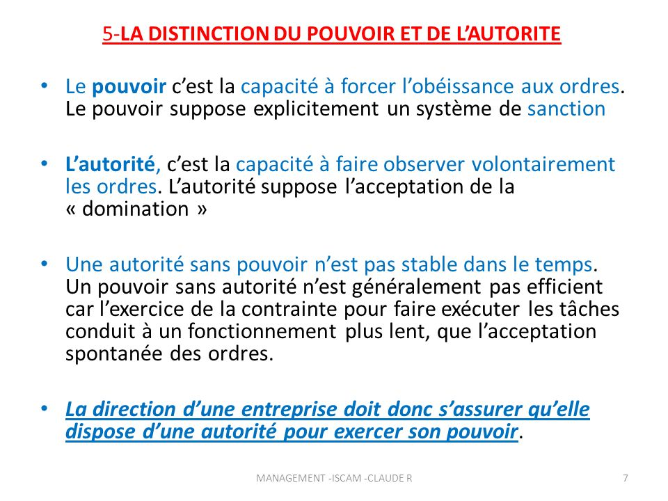 5-LA DISTINCTION DU POUVOIR ET DE L'AUTORITE