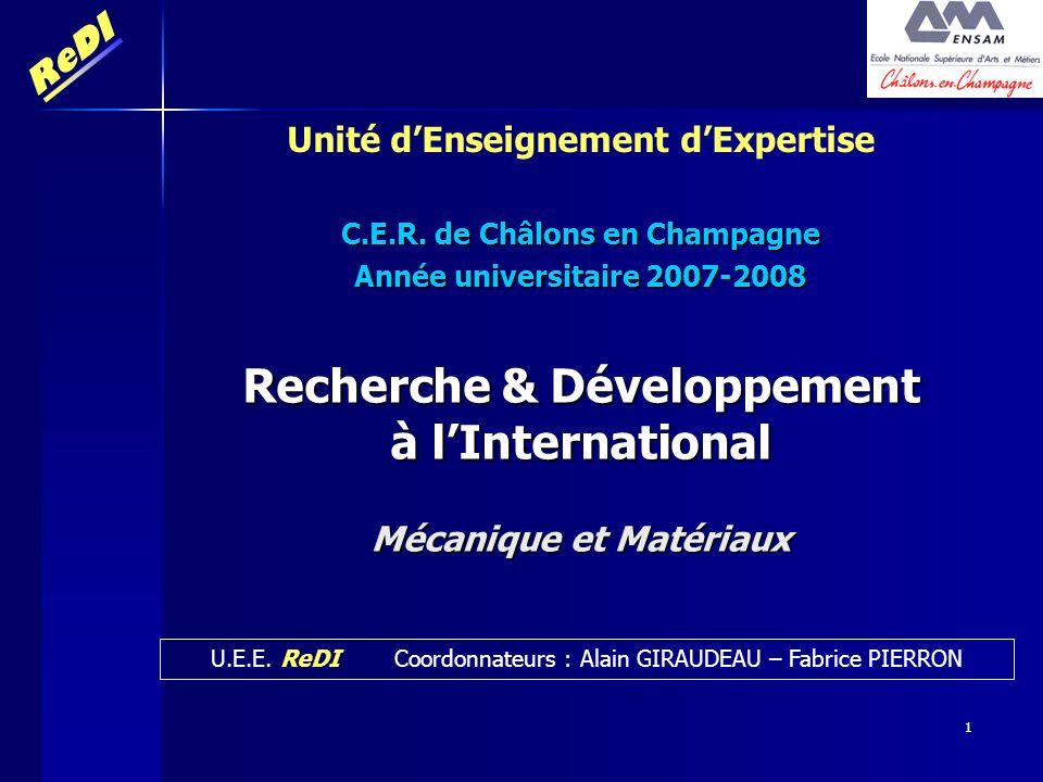 Recherche & Développement à l'International Mécanique et Matériaux