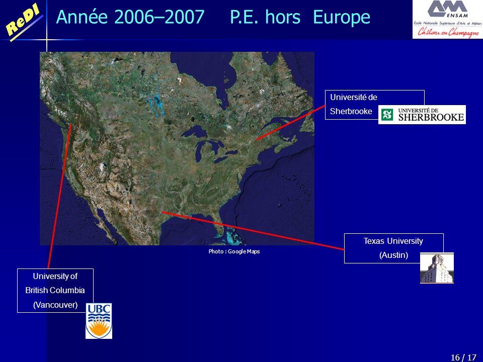 Année 2006–2007 P.E. hors Europe Université de Sherbrooke