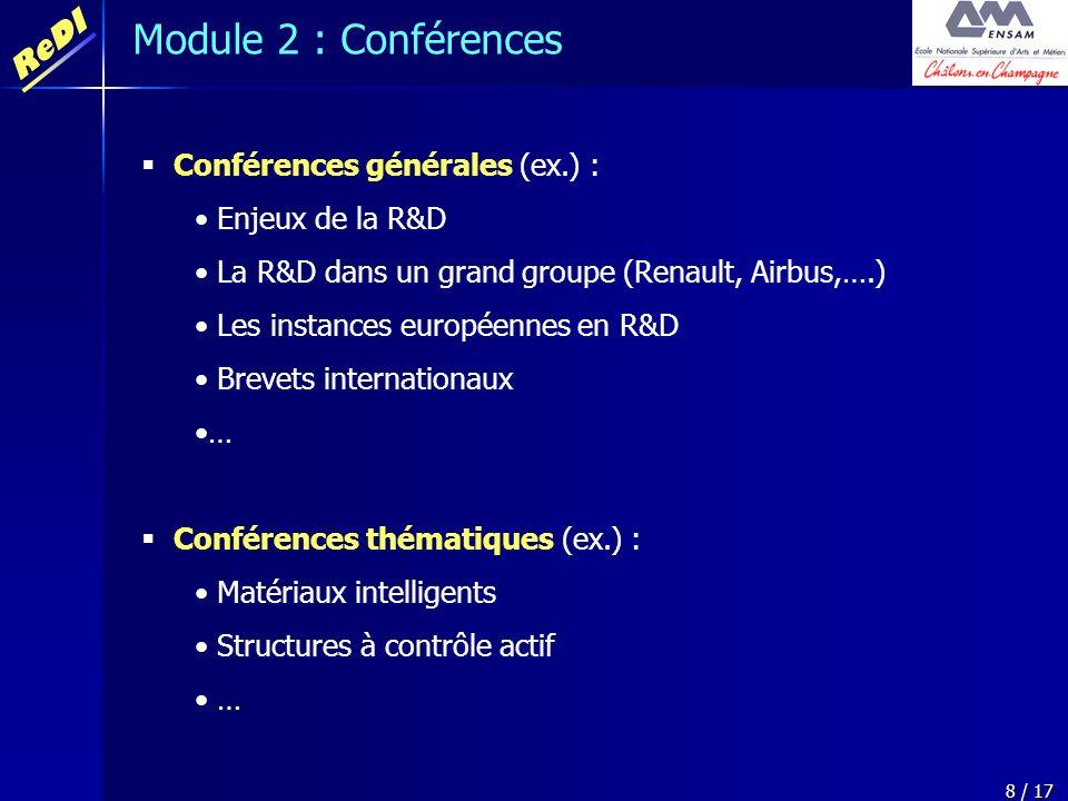 Module 2 : Conférences Conférences générales (ex.) : Enjeux de la R&D