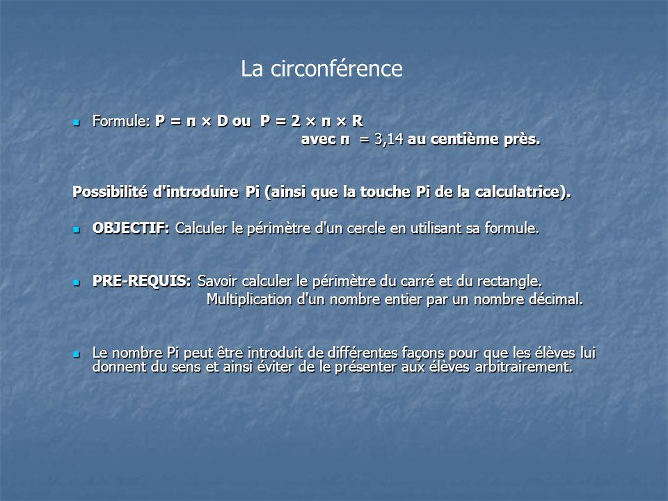 La circonférence Formule: P = π × D ou P = 2 × π × R