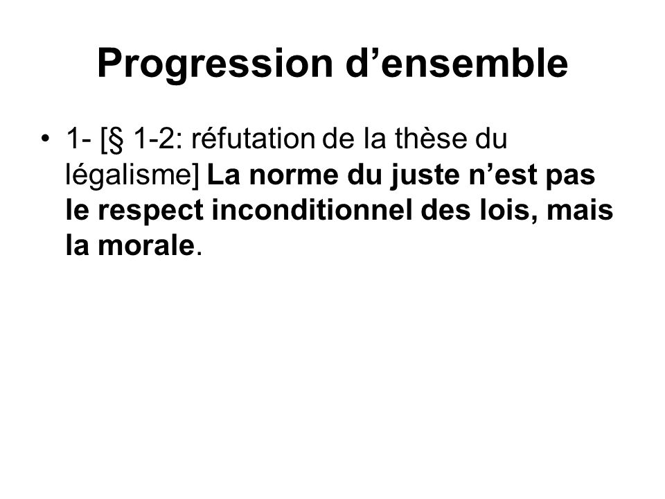 Progression d'ensemble