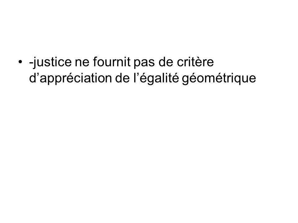 -justice ne fournit pas de critère d'appréciation de l'égalité géométrique