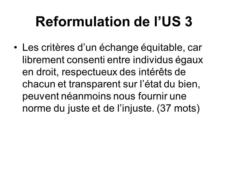 Reformulation de l'US 3