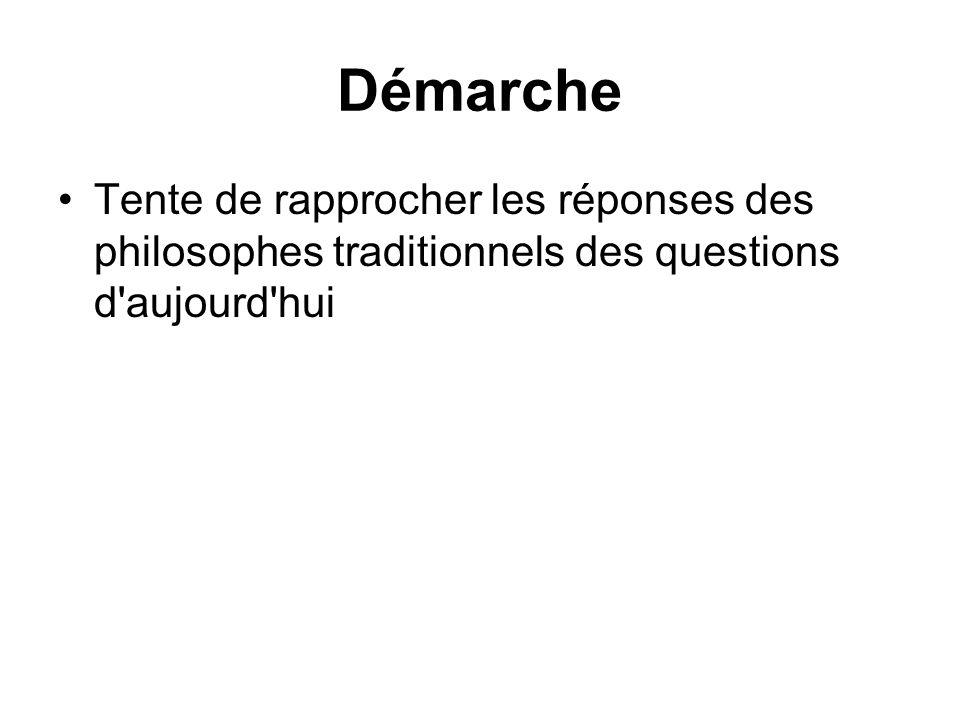 Démarche Tente de rapprocher les réponses des philosophes traditionnels des questions d aujourd hui