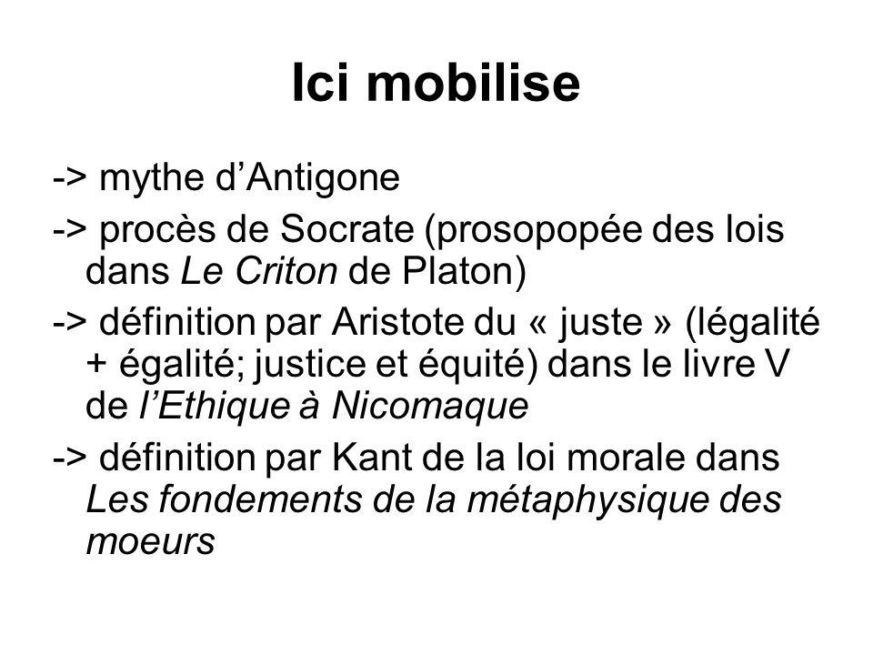 Ici mobilise -> mythe d'Antigone