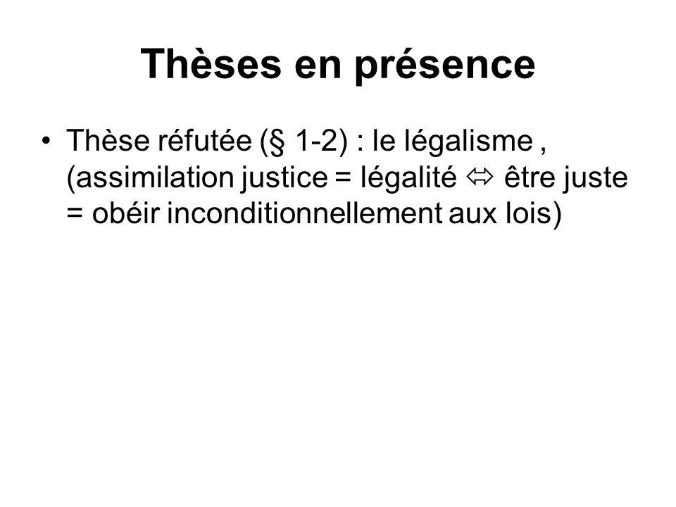 Thèses en présence Thèse réfutée (§ 1-2) : le légalisme , (assimilation justice = légalité  être juste = obéir inconditionnellement aux lois)