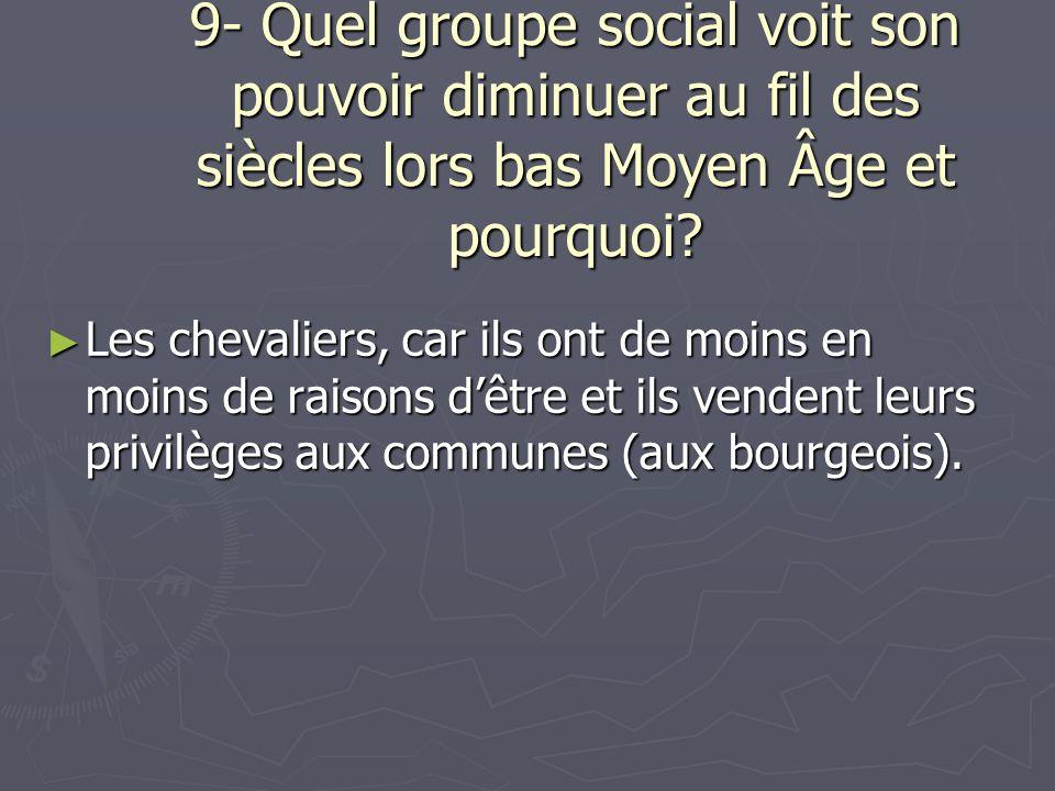 9- Quel groupe social voit son pouvoir diminuer au fil des siècles lors bas Moyen Âge et pourquoi