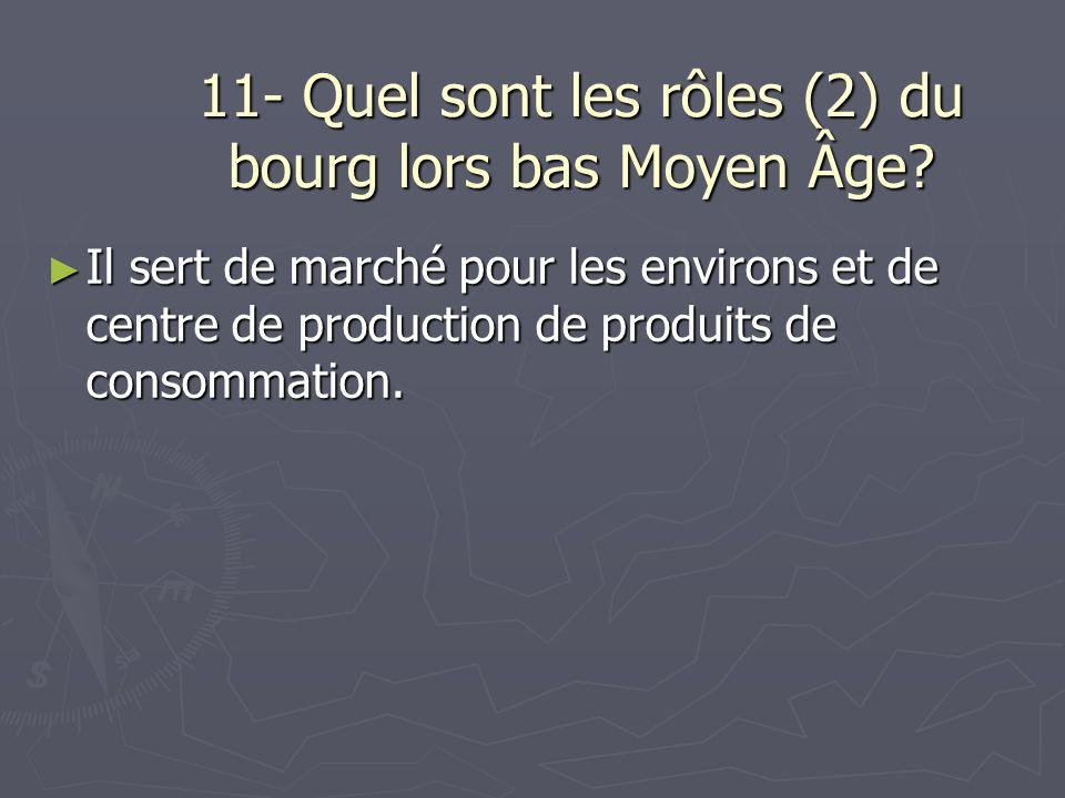11- Quel sont les rôles (2) du bourg lors bas Moyen Âge