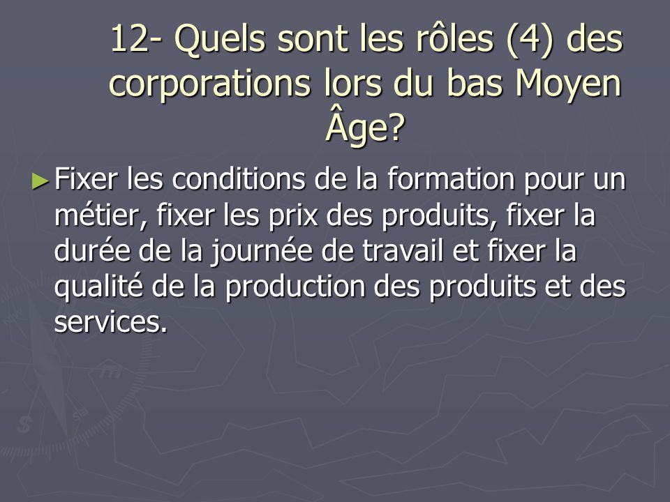 12- Quels sont les rôles (4) des corporations lors du bas Moyen Âge