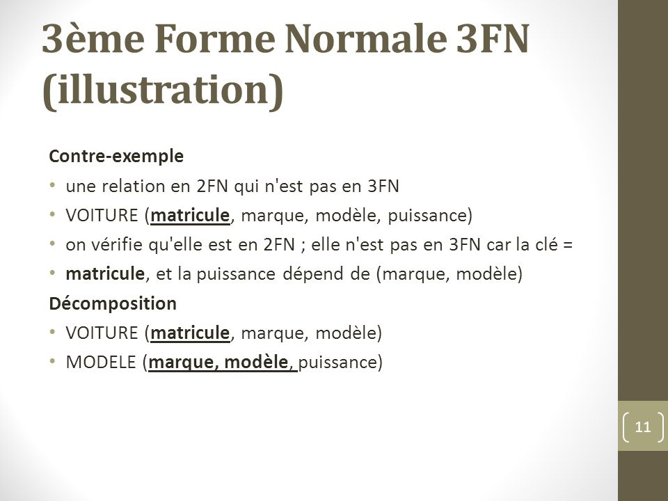 3ème Forme Normale 3FN (illustration)