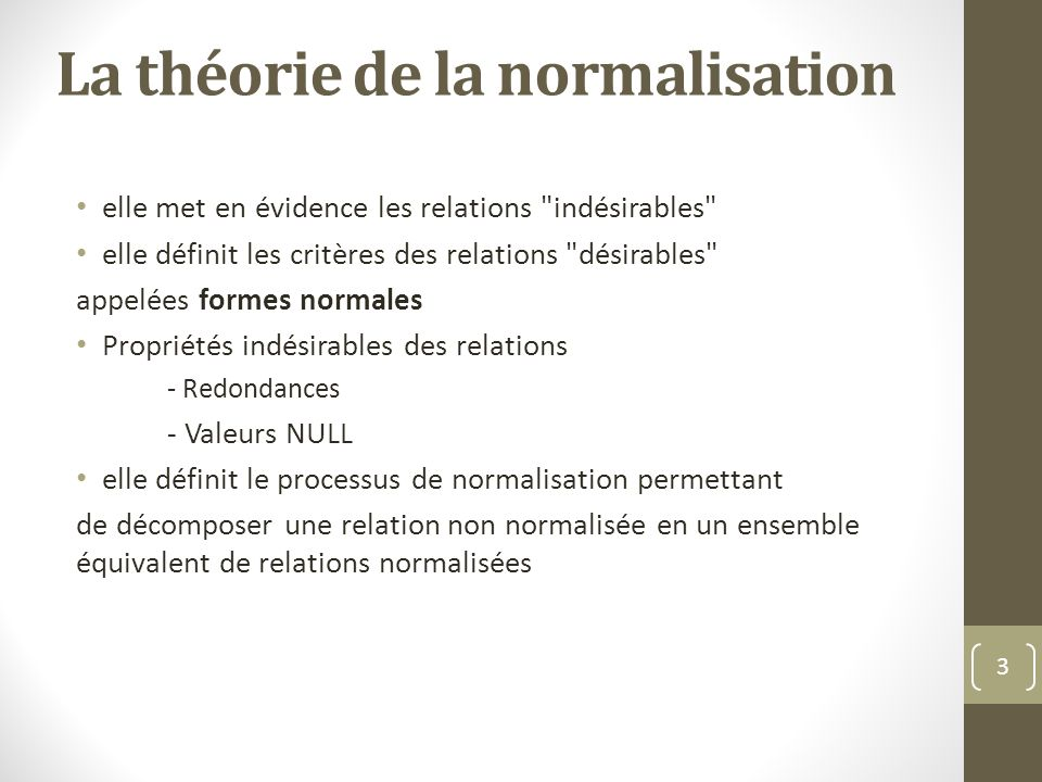 La théorie de la normalisation