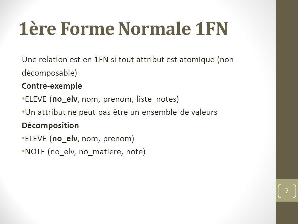 1ère Forme Normale 1FN Une relation est en 1FN si tout attribut est atomique (non. décomposable) Contre-exemple.