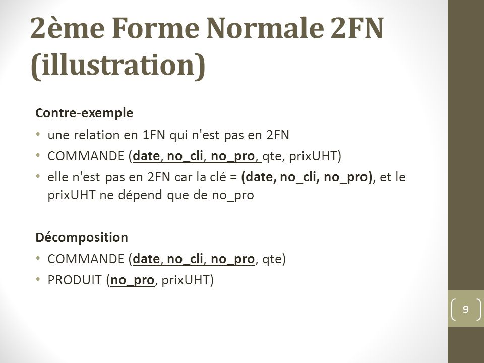 2ème Forme Normale 2FN (illustration)