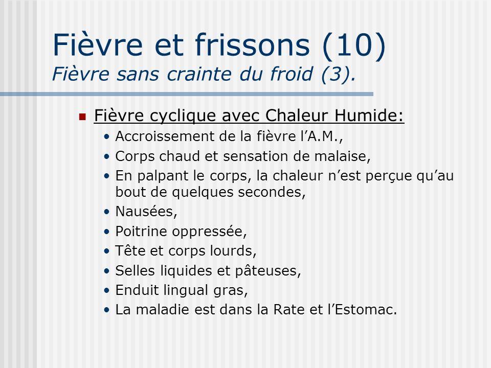 Fièvre et frissons (10) Fièvre sans crainte du froid (3).