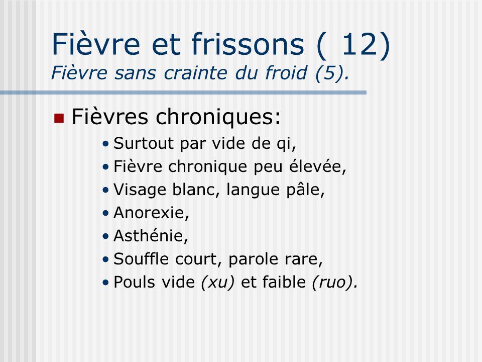 Fièvre et frissons ( 12) Fièvre sans crainte du froid (5).